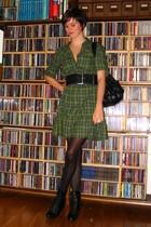 green H&M dress - black Pimkie purse - black Pimkie boots