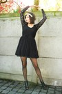 black dress - black tights - black shoes - cream accessories