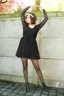 black dress - black tights - black shoes - cream accessories