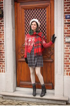 red cardigan - navy dress - ivory tights