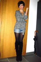 gray sweater - black boots - blue shorts - silver necklace