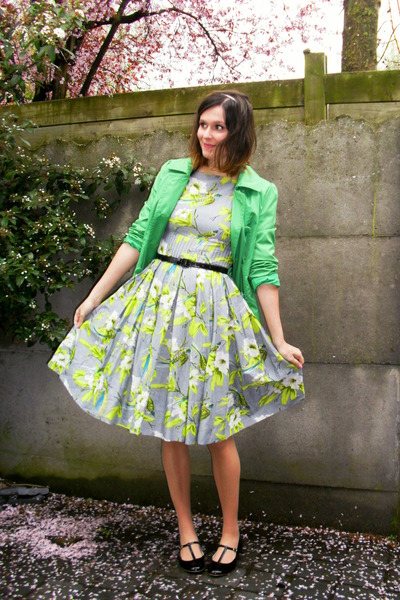 lime green dress - chartreuse coat - black flats - black belt - white headband a