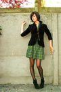 Black-blazer-green-dress-brown-belt-black-shoes-gold-necklace