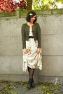 White-dress-green-cardigan-gray-socks-brown-shoes-brown-belt-gold-acce