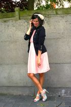 pink dress - blue jacket - silver shoes - pink accessories