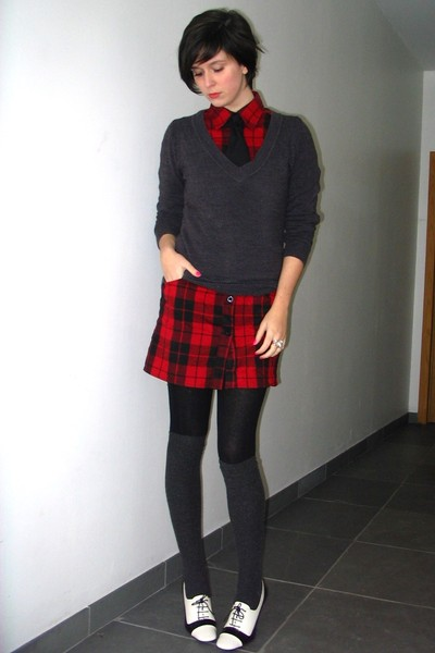 red dress - black tights - gray sweater - gray socks - white shoes - black tie