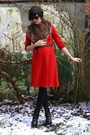 Red-dress-brown-scarf-black-boots-black-belt-black-glasses