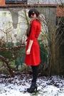 Red-dress-brown-scarf-black-boots-black-belt-black-glasses