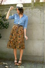 Cream-hat-sky-blue-shirt-burnt-orange-skirt-dark-brown-wedges