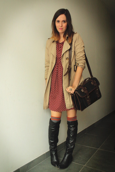 black boots - brick red dress - tan coat - heather gray socks - mustard cardigan