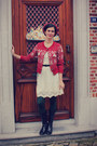 Ivory-dress-forest-green-tights-ruby-red-cardigan