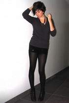 black sequined H&M shorts - Pimkie boots - gray H&M sweater - black H&M t-shirt