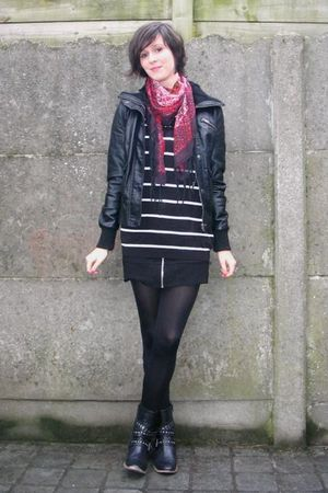 red scarf - black dress - black sweater - black boots - black jacket