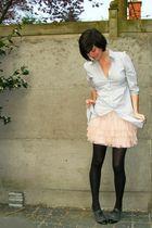 blue shirt - pink skirt - gray shoes