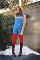 camel sweater - red tights - blue romper