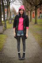 hot pink jumper - silver boots - bubble gum hat - dark gray tights