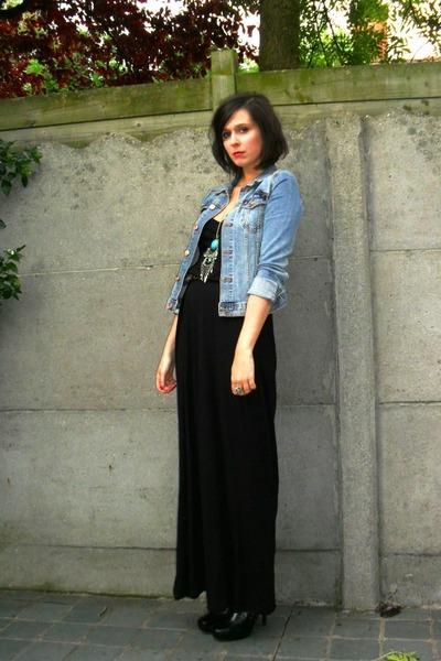 black dress - black boots - blue jacket - blue necklace - brown belt
