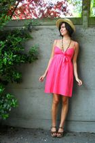 pink dress - brown shoes - yellow hat - yellow necklace