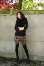 Red-dress-black-blazer-black-socks-black-boots-black-scarf-black-tight