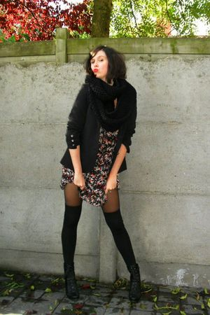 red dress - black blazer - black socks - black boots - black scarf - black tight