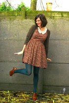 teal tights - brick red dress - tawny shoes - dark brown cardigan - red coat
