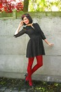 Black-dress-red-tights-black-shoes-purple-accessories-beige-jacket