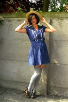 blue dress - gray socks - yellow hat - brown shoes