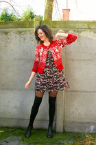dark gray boots - black dress - black socks - red cardigan - ivory birdpin acces