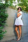Gray-skirt-white-blouse-pink-shorts-gray-vest-silver-shoes