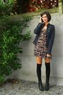 Black-socks-blue-jacket-red-dress-black-boots-silver-necklace