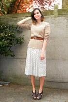 eggshell dress - beige coat - tan sweater - tawny belt - dark brown clogs