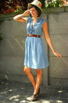 blue dress - brown shoes - yellow hat - brown belt