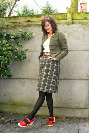 army green cardigan - army green skirt - red shoes - ivory top - maroon accessor