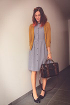 black loafers - navy dress - dark brown bag - mustard cardigan
