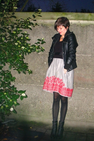 black jacket - black sweater - red dress - black boots - silver necklace