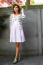 light pink dress - light yellow hat - navy cardigan - chartreuse clogs