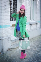 bubble gum boots - sky blue dress - aquamarine coat - blue sweater
