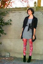 gray dress - black boots - pink tights - black coat - black belt