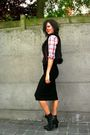 Black-worn-as-skirt-dress-red-shirt-black-vest-black-belt-shoes
