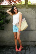 beige bag - light blue shorts - salmon sandals - light yellow accessories - whit