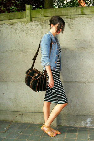 blue jacket - beige shoes - black dress - black