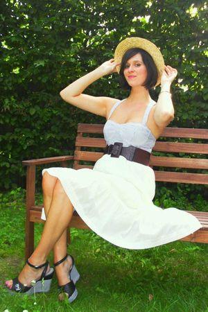 blue top - white worn as skirt dress - black shoes - purple belt - yellow hat