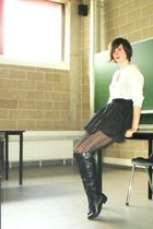 white blouse - black skirt - black tights - black boots