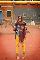 brick red scarf - bronze boots - navy coat - gold pants - sky blue blouse