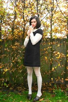 beige tights - black dress - cream blouse - black