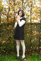 beige tights - black dress - cream blouse - black
