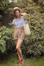 Yellow-hat-cream-bag-light-brown-shorts-brown-sandals-blue-top