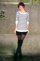 white H&M sweater - black Pimkie shorts - black tights - black Sacha boots - sil