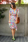 Hot-pink-dress-tawny-bag-chartreuse-clogs-brown-belt
