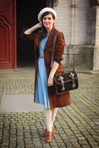 sky blue dress - dark brown coat - bronze accessories